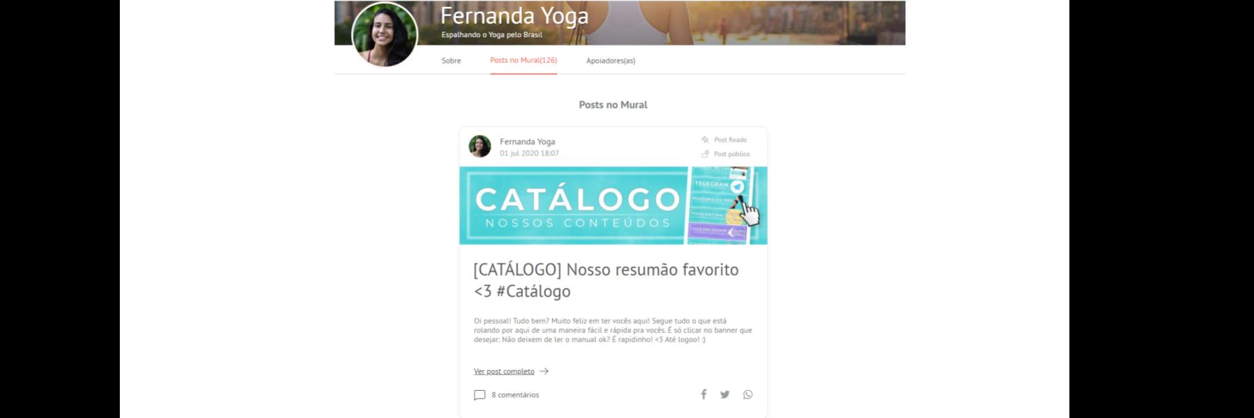 """captura de tela do mural da Fernanda Yoga, em que se vê um primeiro post. Nele se lê grande """"Catálogo""""."""